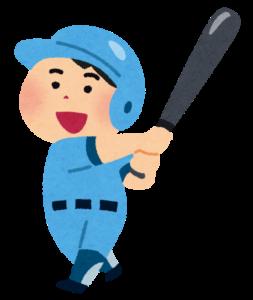 野球バットでスイングしている男性のイラスト