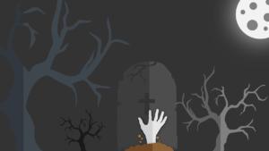 お墓の下からゾンビの手が飛び出しているイラスト