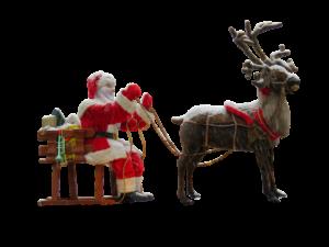 サンタクロースとトナカイの人形
